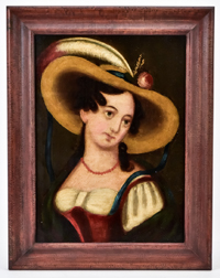 Folk Art Portrait of a Young Lady