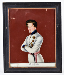 Reverse Painting  of a Young Napoleon