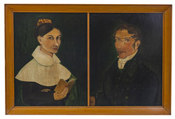 Pair of Early Folk Art Portrait Paintings