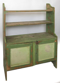Early Bucket Bench with Old Green Paint