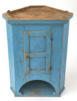 Corner Hanging Cupboard With Old Blue Paint