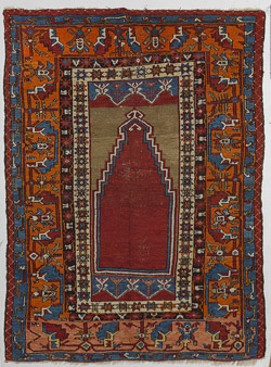 Semi-Antique Oriental Prayer Rug