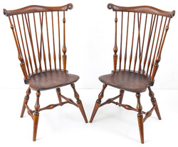 Pair Wallace Nutting Brace-Back Windsor Chairs