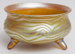 Quezal Footed Art Glass Bowl