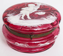 Mary Gregory Ruby Glass Dresser box