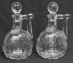 Pair Of Fine Copper Wheel Engraved Decanters