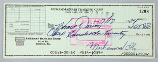 Muhammed Ali Training Camp Autographed Check