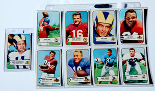 Nine 1954 Bowman Football Cards