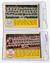 1958 Topps Dodgers & Yankees Team Cards