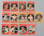 Thirteen 1959 Topps Yankees Cards
