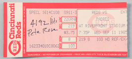 Sept. 11 1985 Pete Rose 4192 Hit Ticket Stub