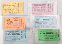 Six 1969 & 1970's Boxing Theatre telecast tickets