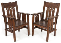 Pair of Arts & Crafts Chairs in Style of Limbert