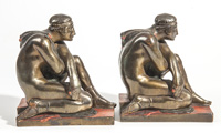 Pompeian Bronze Co. Bronze Arts & Crafts Bookends