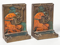 Pompeian Bronze Co. Pair Arts & Crafts Bookends