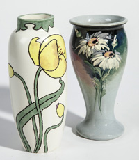 Two Artist Painted Weller Vases