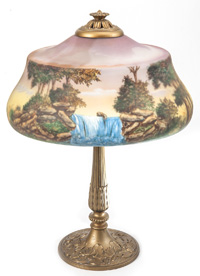 Attributed Pittsburgh Reverse Painted Lamp