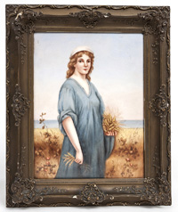 Hand Painted Porcelin Plaque of Ruth