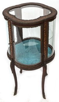 Marquetry Inlaid Curved Glass Curio Cabinet