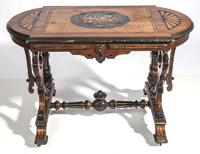 American Renaissance Victorian Inlaid Parlor Table