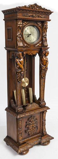 Ornate Carved Tall Case Clock With Carved Figures