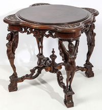 Unusual Carved Mahogany Figural Lamp Table