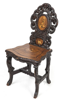Black Forest Marquetry Inlaid Chair