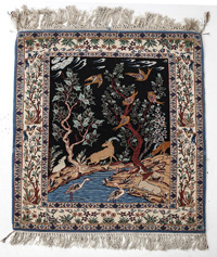 Chinese Figural Silk Rug