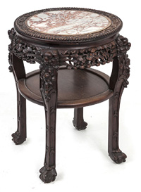 Marble Top Carved Chinese Teak Wood Stand