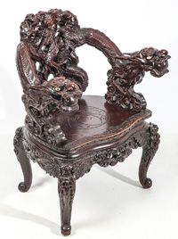 Signed Carved Chinese Armchair