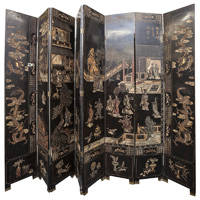 Chinese Carved & Painted Eight Panel Screen