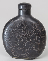 Carved Chinese Red Amber Snuff Bottle