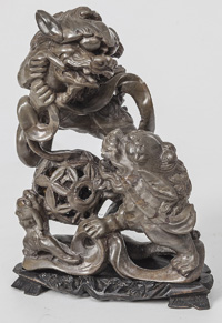 Chinese Carved Hardstone Foo Lions