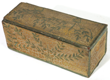 19TH CENTURY CARVED & PAINTED SLIDING LID BOX