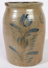 PA. BLUE TULIP DECORATED STONEWARE JAR