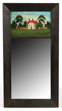 EARLY REVERSE PAINTED GLASS WALL MIRROR