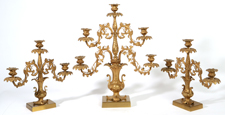 HENRY HOOPER 3-PIECE GILT BRONZE GARNITURE SET