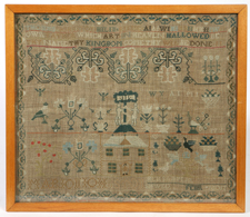 FINE 1812 NEEDLEWORK SAMPLER ON LINEN