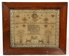 EARLY MARIA LEWIS NEEDLEWORK SAMPLER