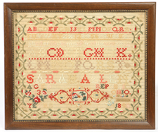 1848 SARAH ALLEN REPUBLIC, OHIO, SAMPLER