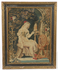 NEEDLEWORK OF GIRL AT SPINNING WHEEL