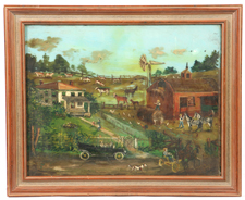 CIRCA 1920 FOLK ART FARM SCENE PAINTING