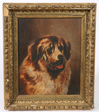 1889 OIL PAINTING OF ST. BERNARD DOG