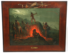 1904 BURNING ARROWS PRINT W/INDIAN MOTIF FRAME