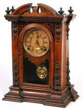 E. INGRAHAM WALNUT VICTORIAN SHELF CLOCK