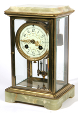 FINE HERSCHEDE ONYX MOUNTED CRYSTAL REGULATOR CLOCK
