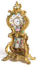 MINIATURE FRENCH ENAMEL TALL CASE CLOCK