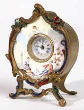 FINE MINIATURE FRENCH ENAMEL CLOCK