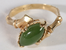 CHINESE JADE 14K GOLD RING