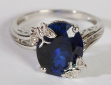 10K WHITE GOLD, BLUE STONE RING